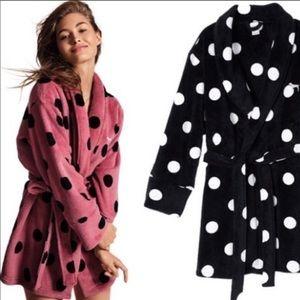 PINK Victoria's Secret Black/White Polka Dot Robe